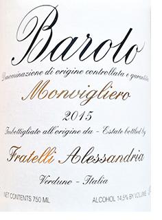 2015 Alessandria Barolo Monvigliero