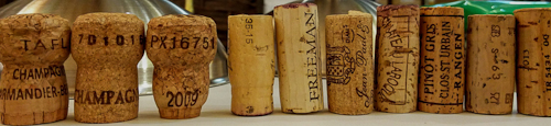selection of natural and technical corks