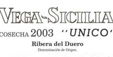 Vega Sicilia 2003 Unico label detail