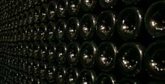 Bottles in storage in Burgundy
